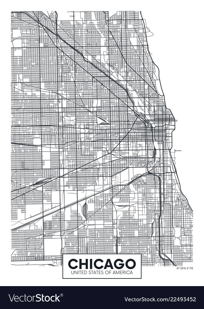 Poster map city chicago Royalty Free Vector Image on