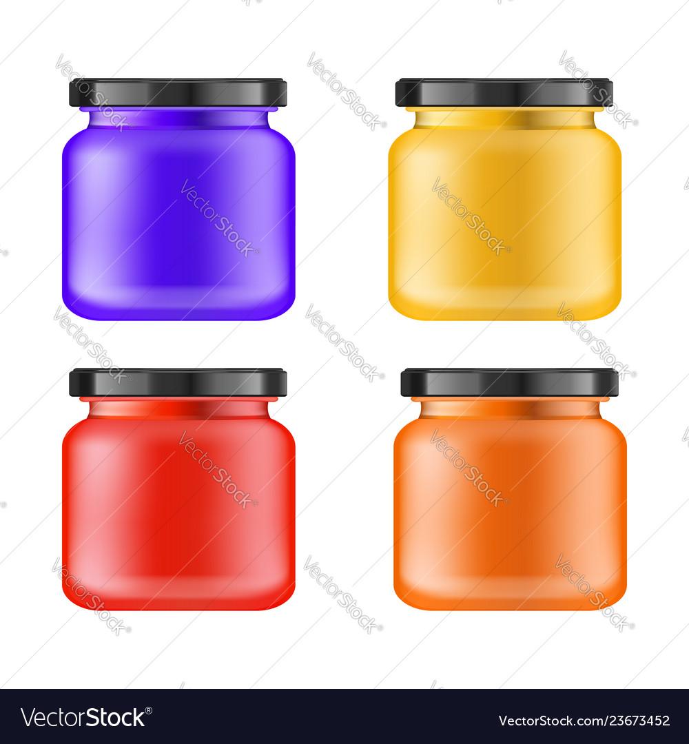 Realistic multi-colored matt jar with black lid