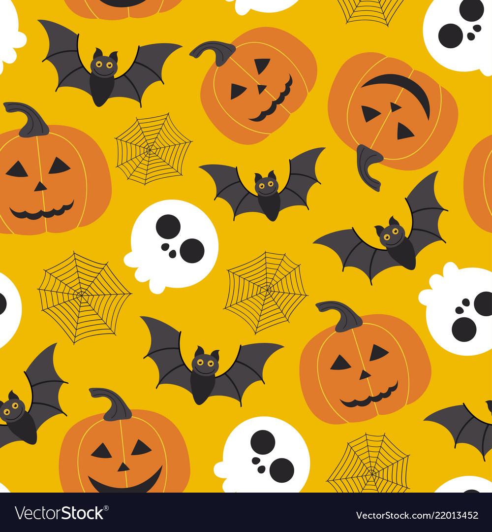 Seamless halloween pattern with skullpumpkinbat