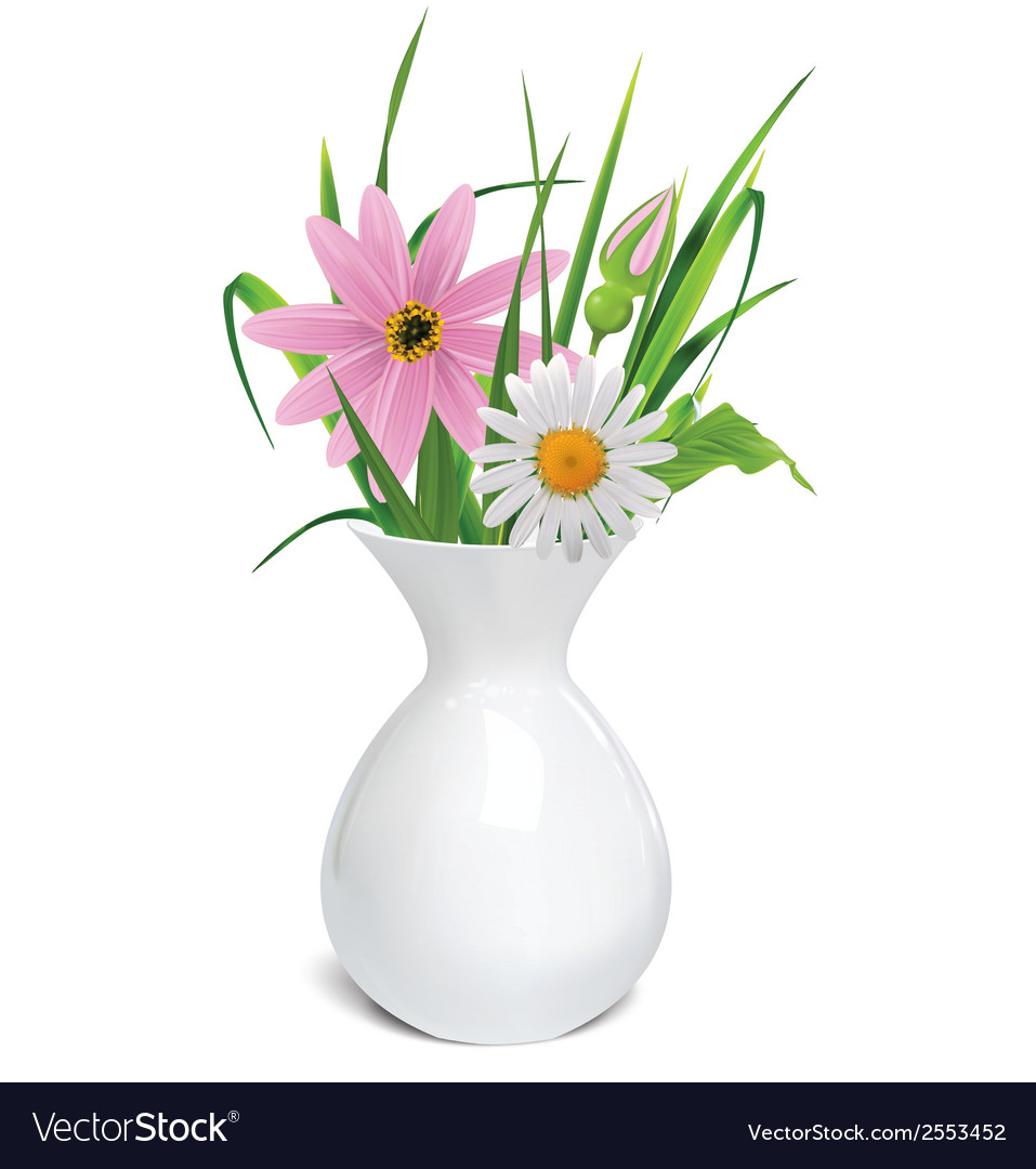 White vase with summer flowers grass and leaf