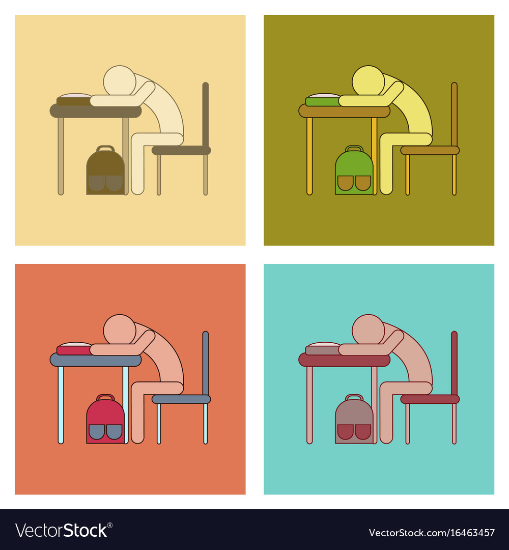 Assembly flat icons student sleeping at the desk