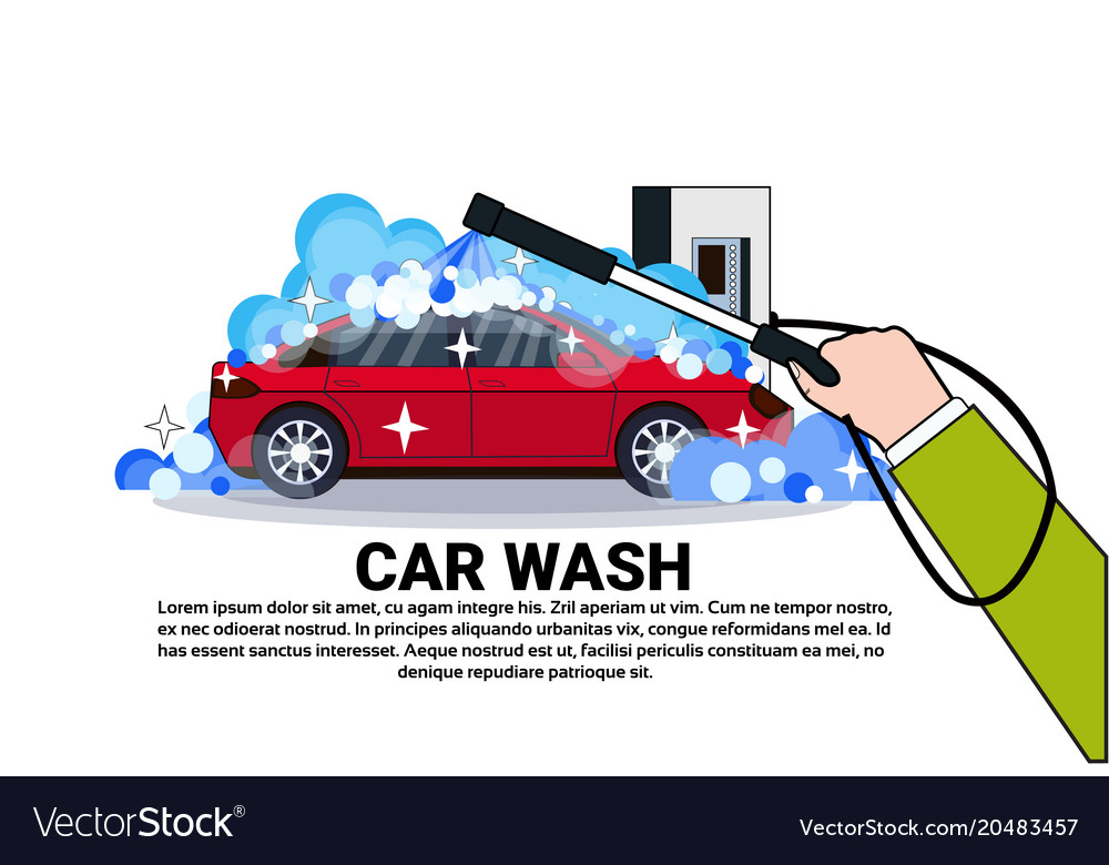 Car wash service banner with hand cleaning vehicle