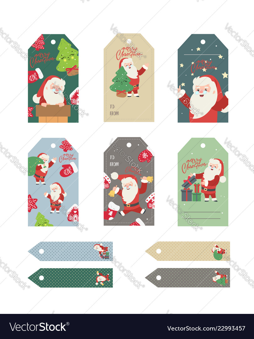 Christmas gift tags set with handwritten