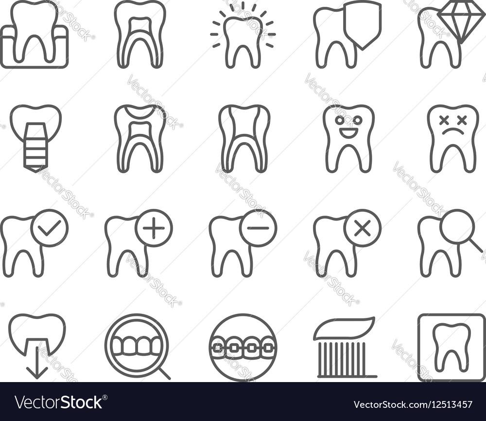 Dental flat thin line icons set vector image
