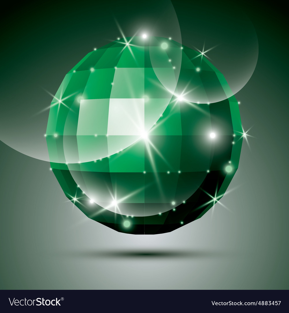 Dimensional green sparkling disco ball created