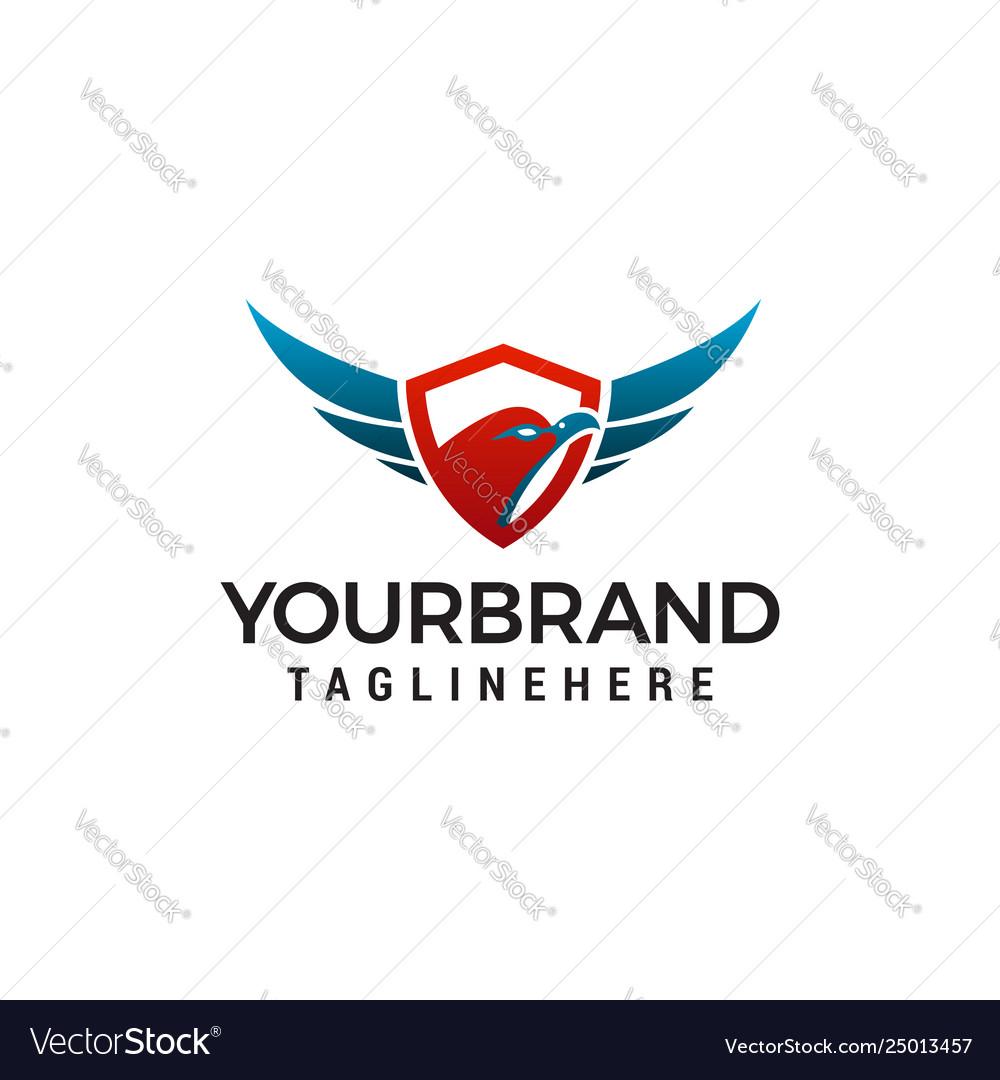 Eagle head shield logo design concept template