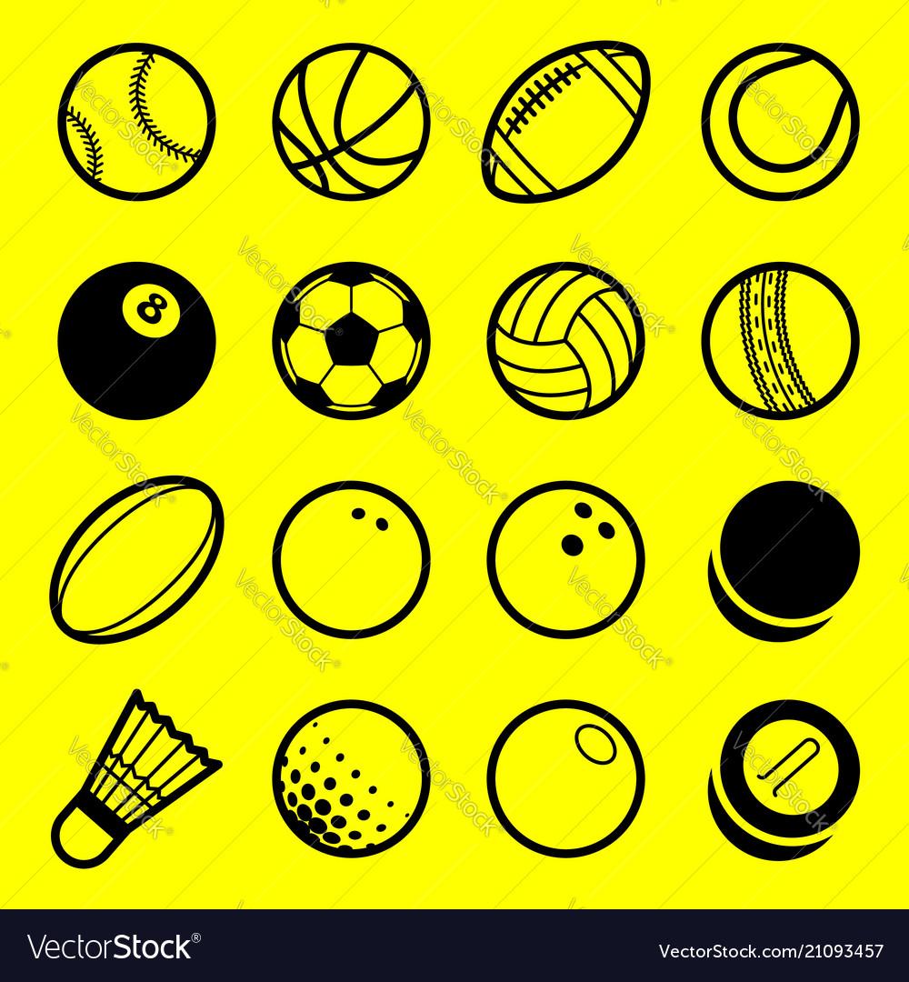 Flat line art play sport balls logo icon isolated