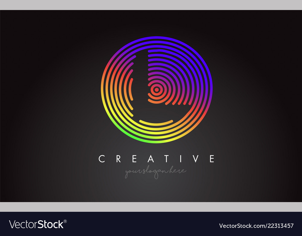 L letter logo design with colorful rainbow