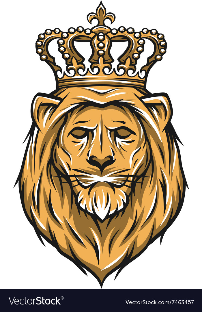 lion with a crown color version royalty free vector image