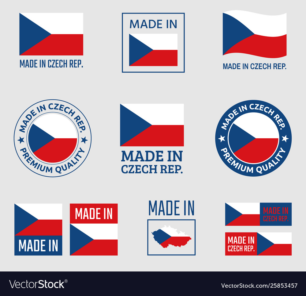 Made in czech republic icon set product labels of