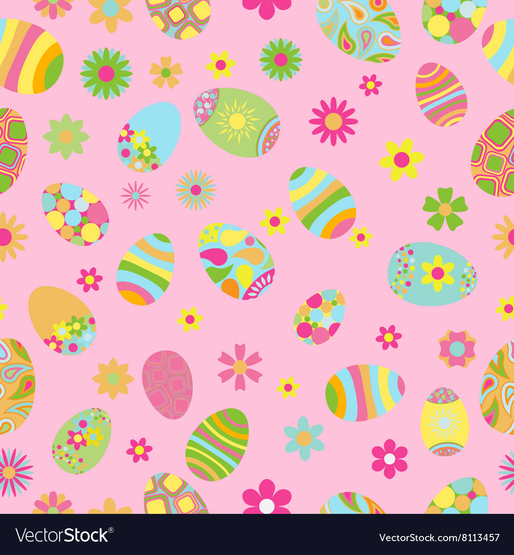Seamless pattern of flowers and Easter eggs