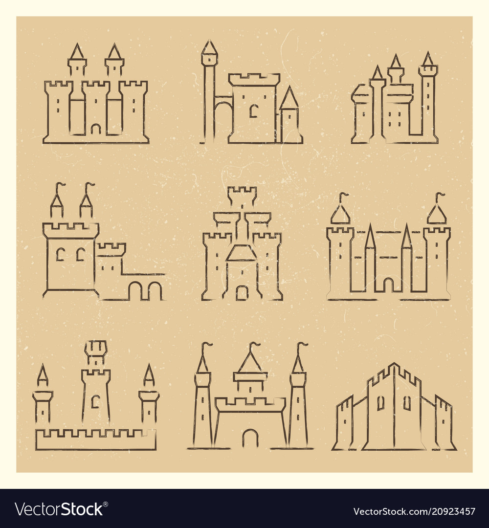 Set of medieval castles line icos
