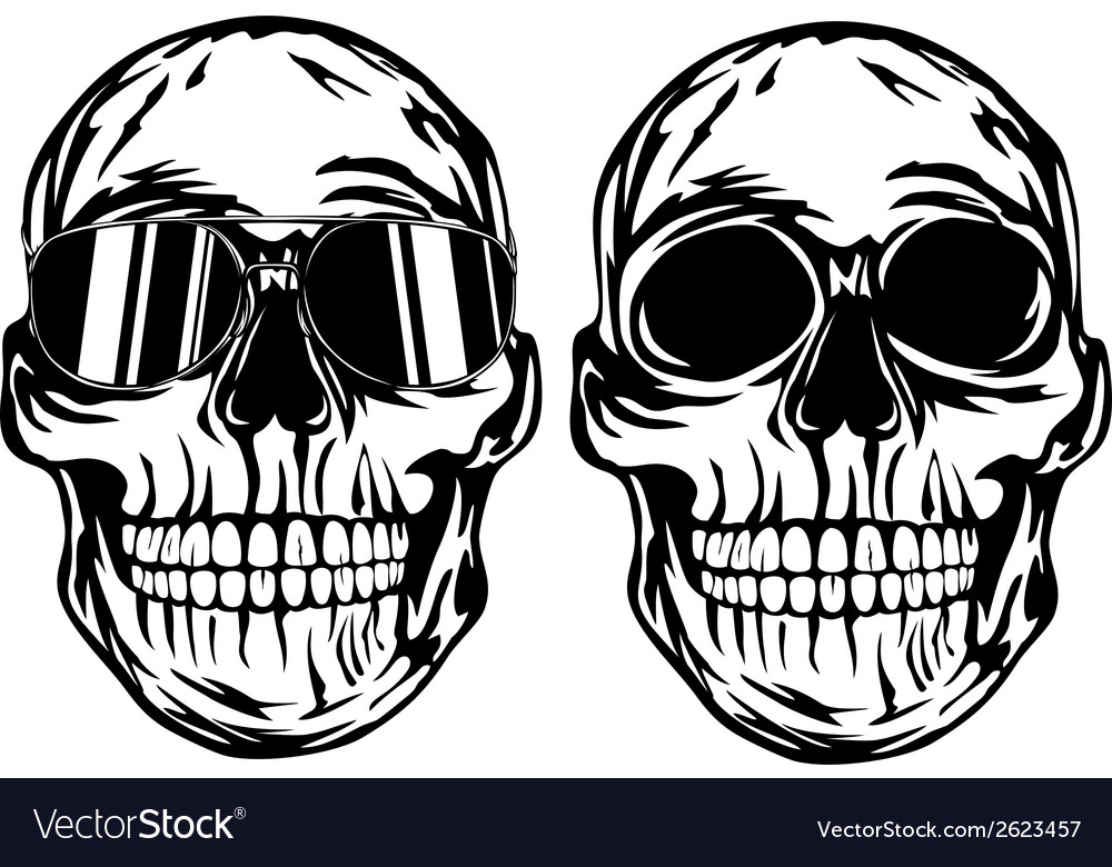 Skull and skull in sunglasses