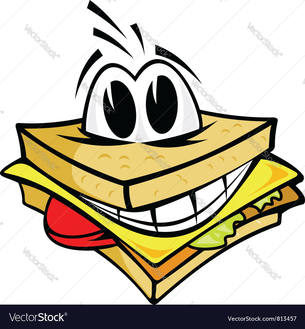 Smiling cartoon sandwich vector image