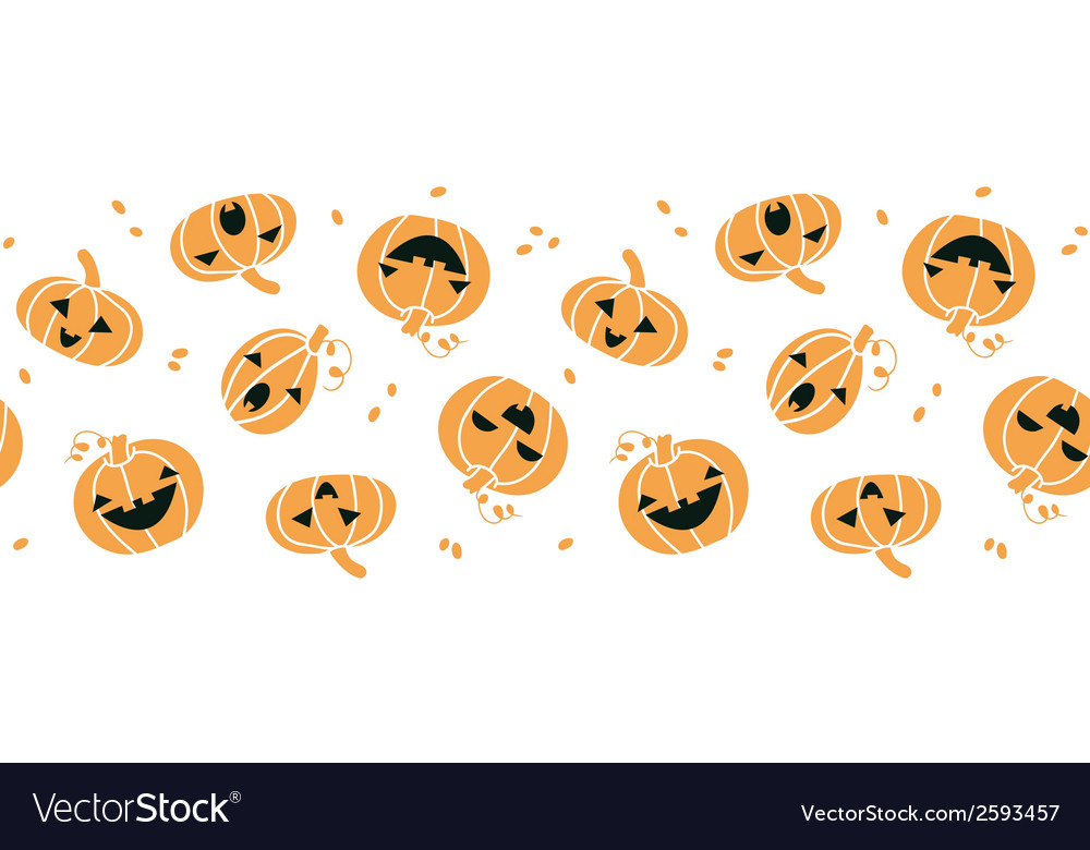 Smiling Halloween pumpkins horizontal seamless