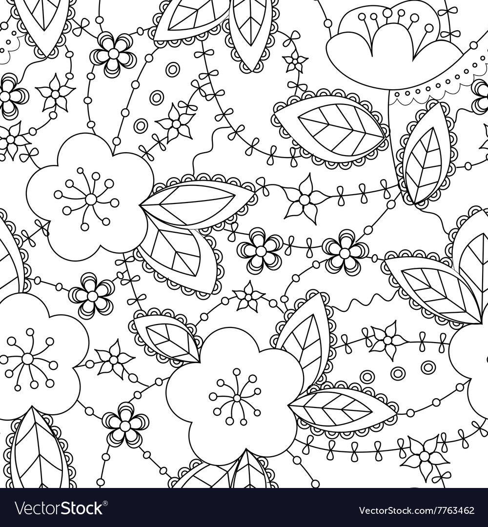 Apple flowers coloring antistress converted vector image