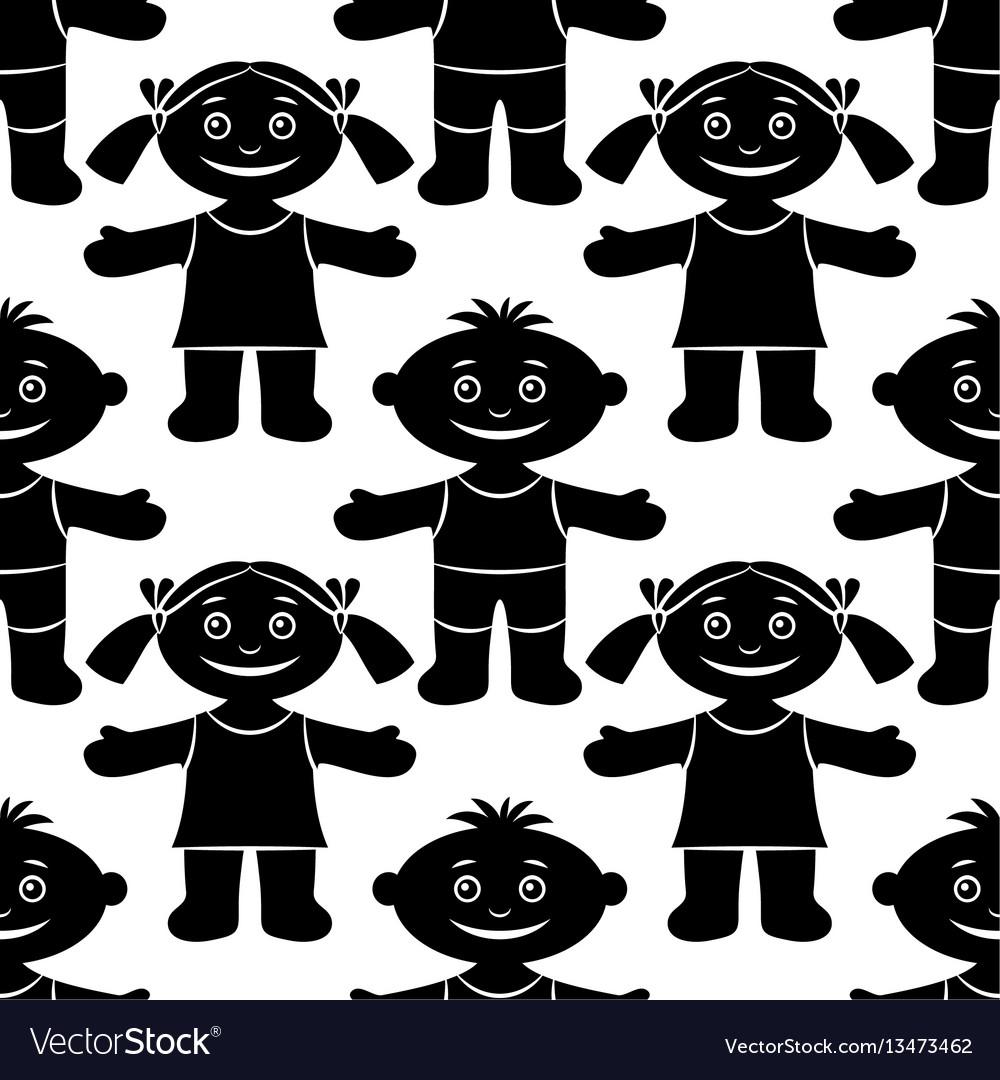 Children seamless silhouette