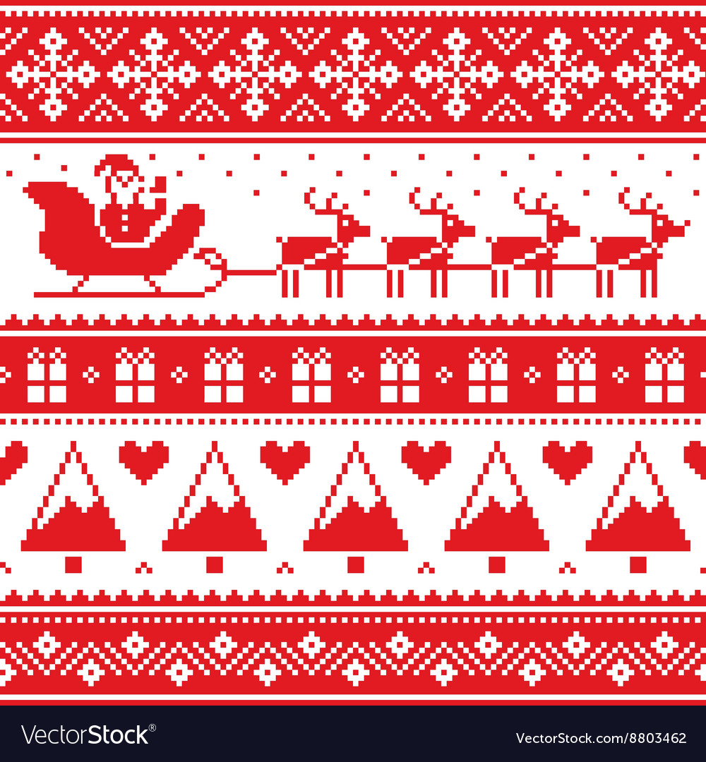 Ugly Christmas Sweaters Patterns.Christmas Jumper Or Sweater Seamless Red Pattern