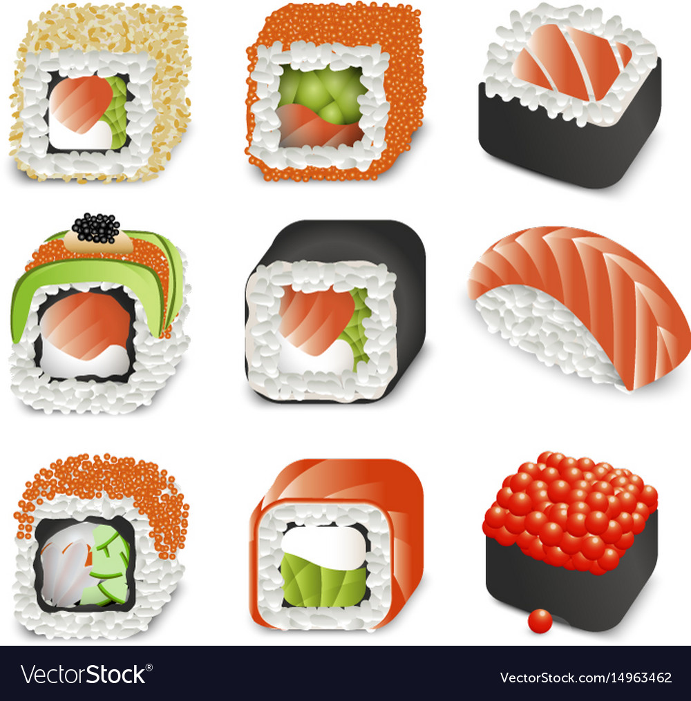 Colorful realistic japanese food icons set with