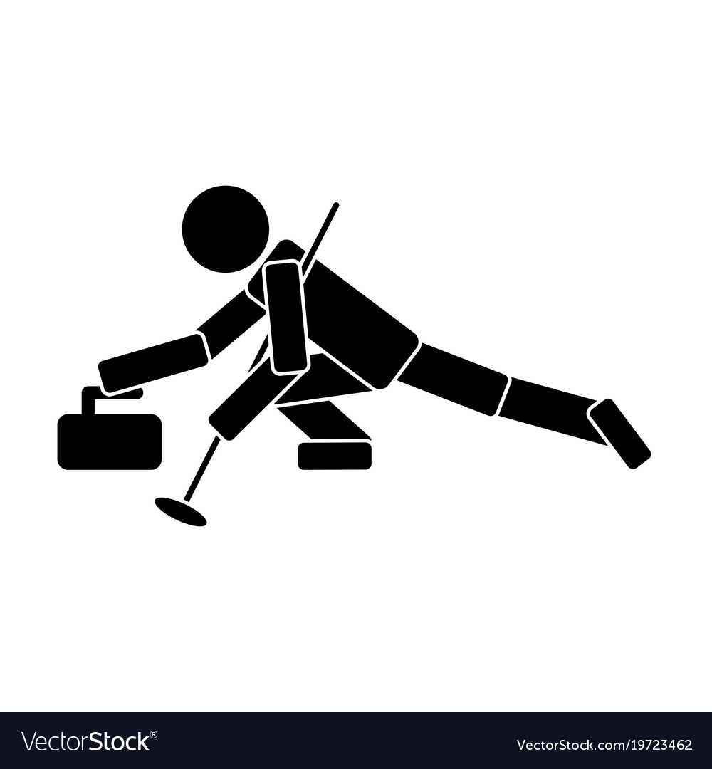 Curling icon on white background vector image