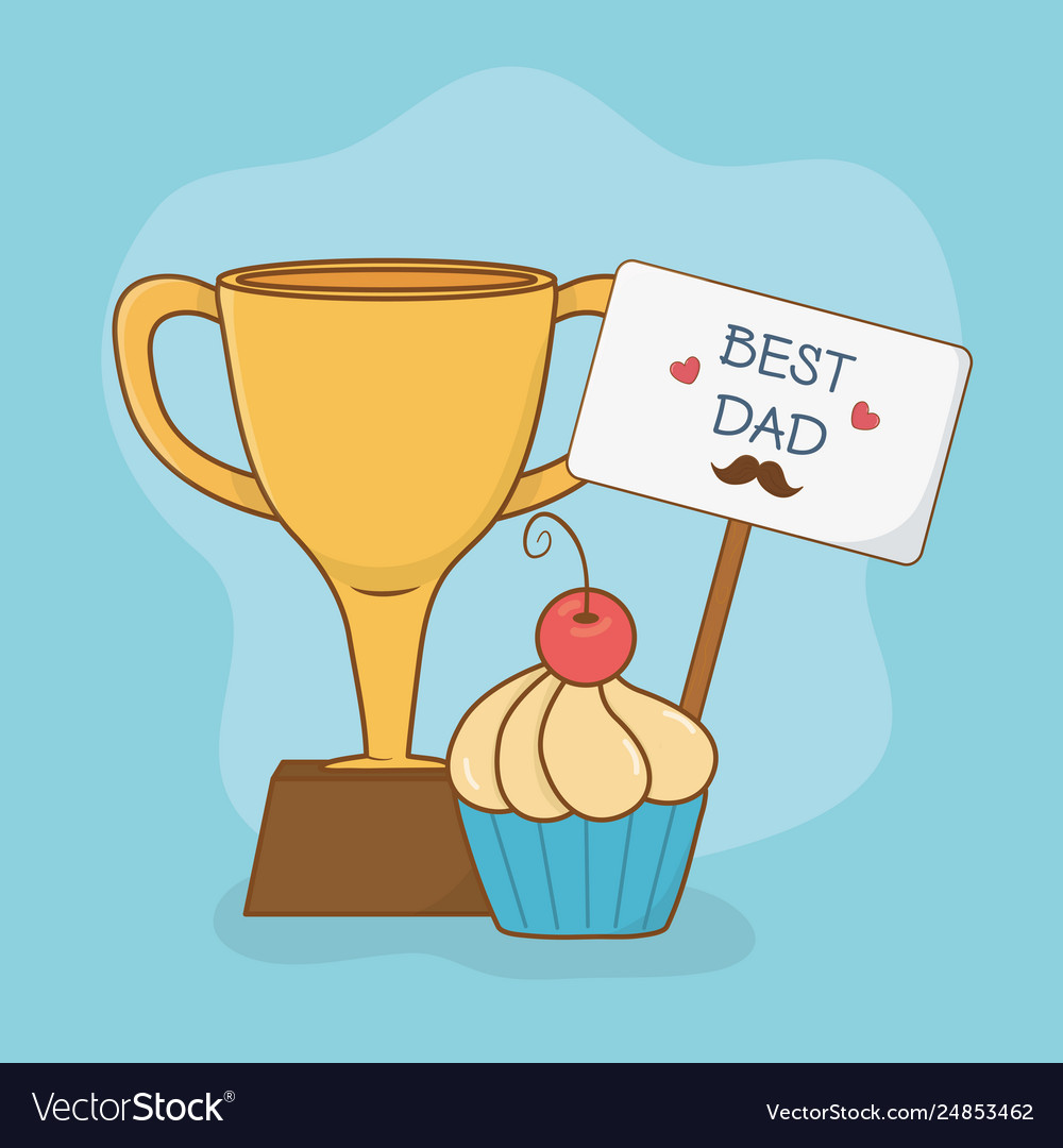 Happy fathers day card with trophy cup