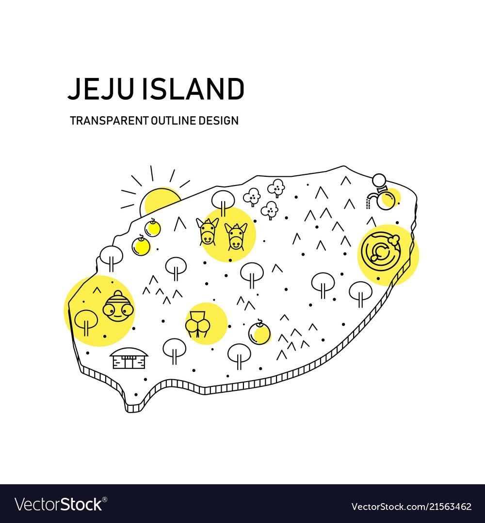 jeju island map with transparent outline designwi vector image