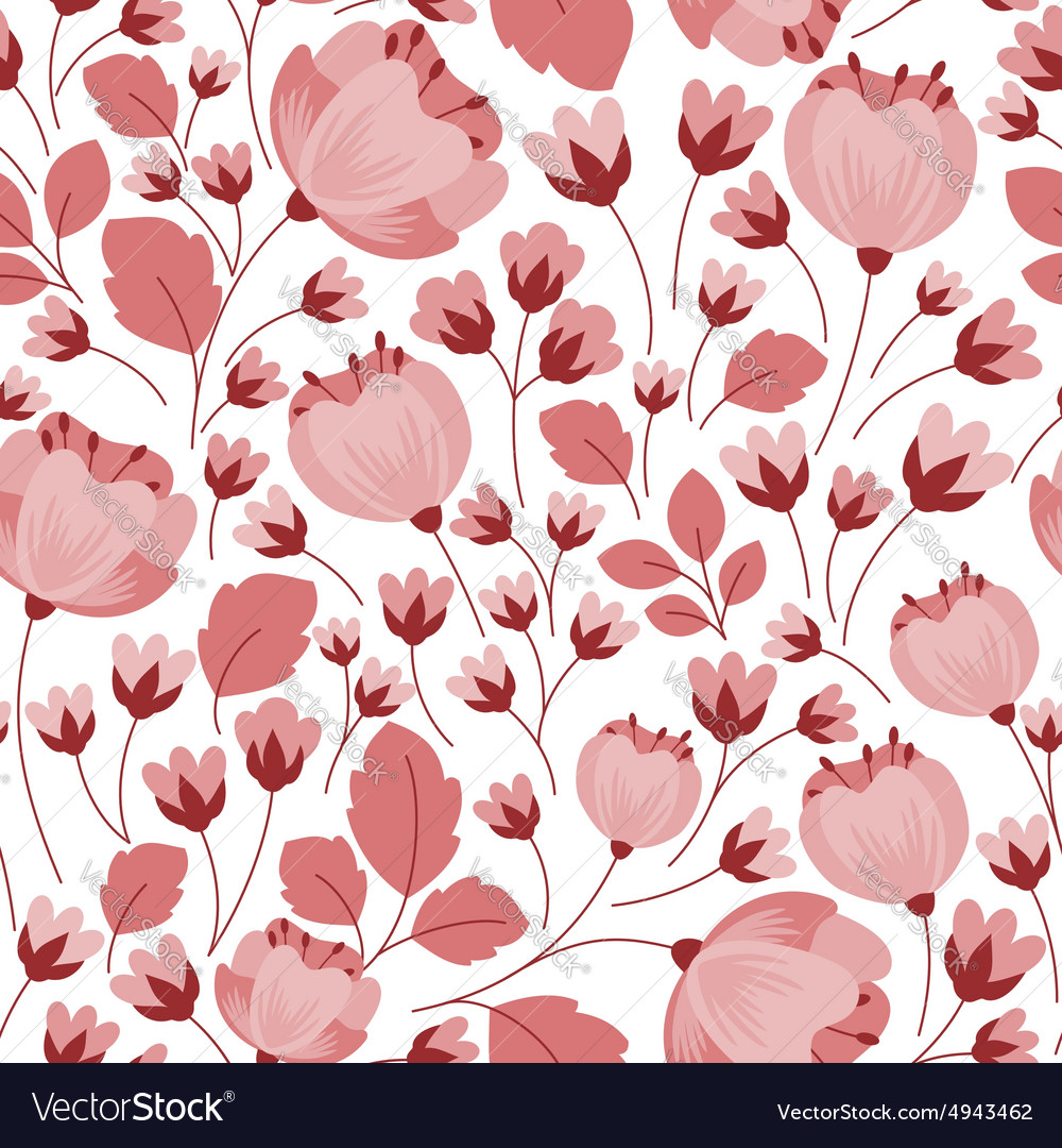 Retro Pastel Pink Floral Seamless Pattern Vector Image