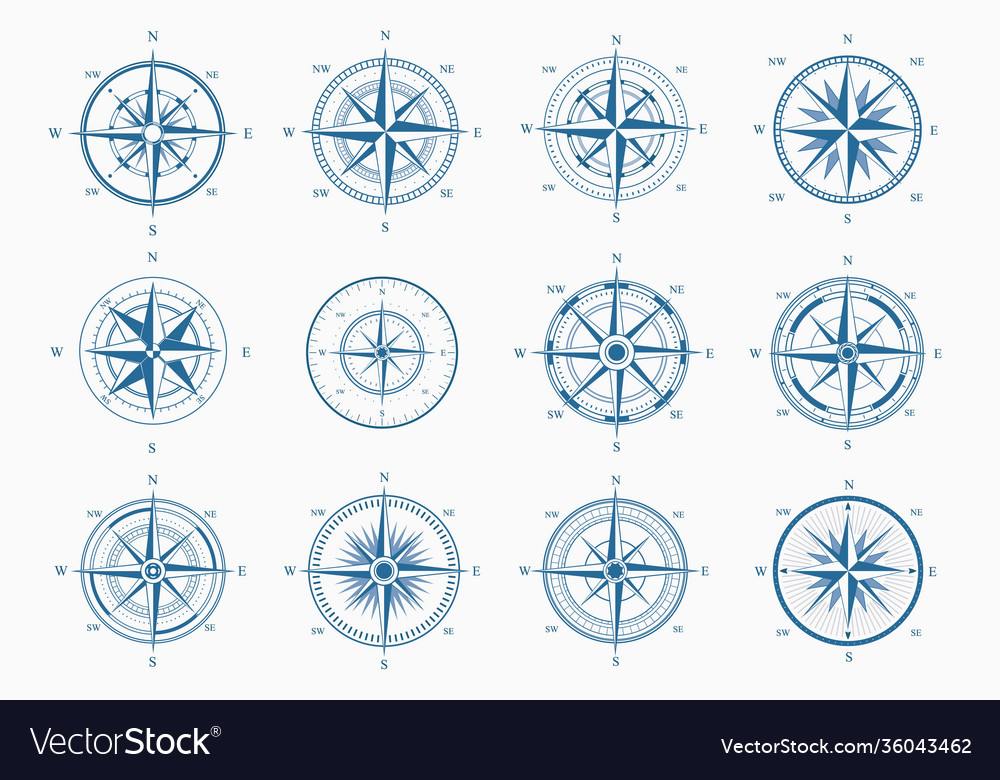 Sea wind rose set blue ink cartography with