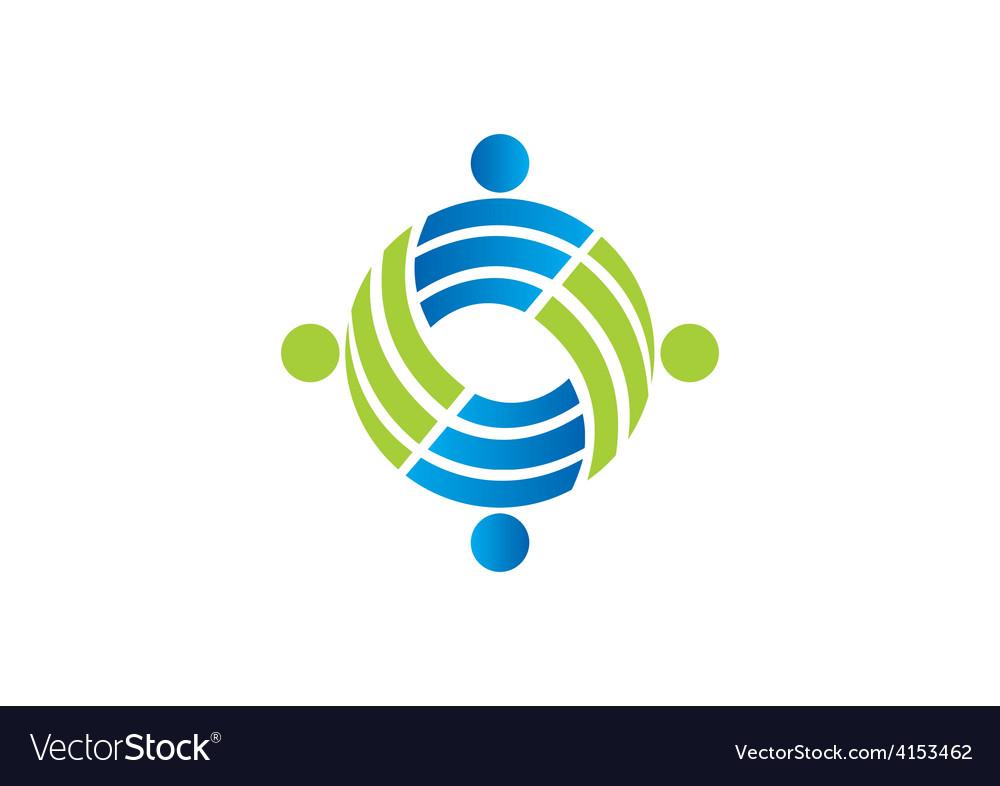 Teamwork circle people group logo