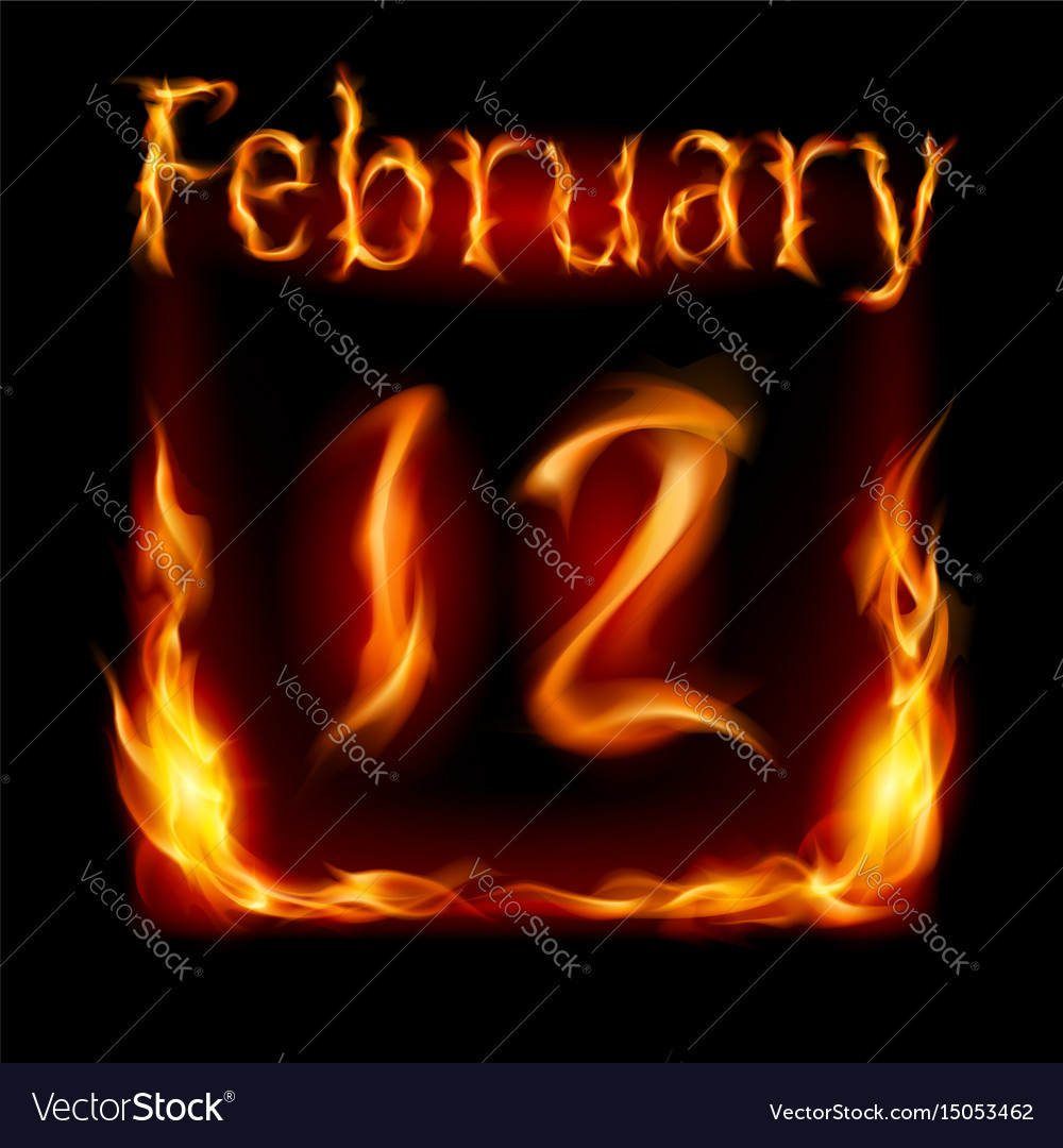 Twelfth february in calendar of fire icon on