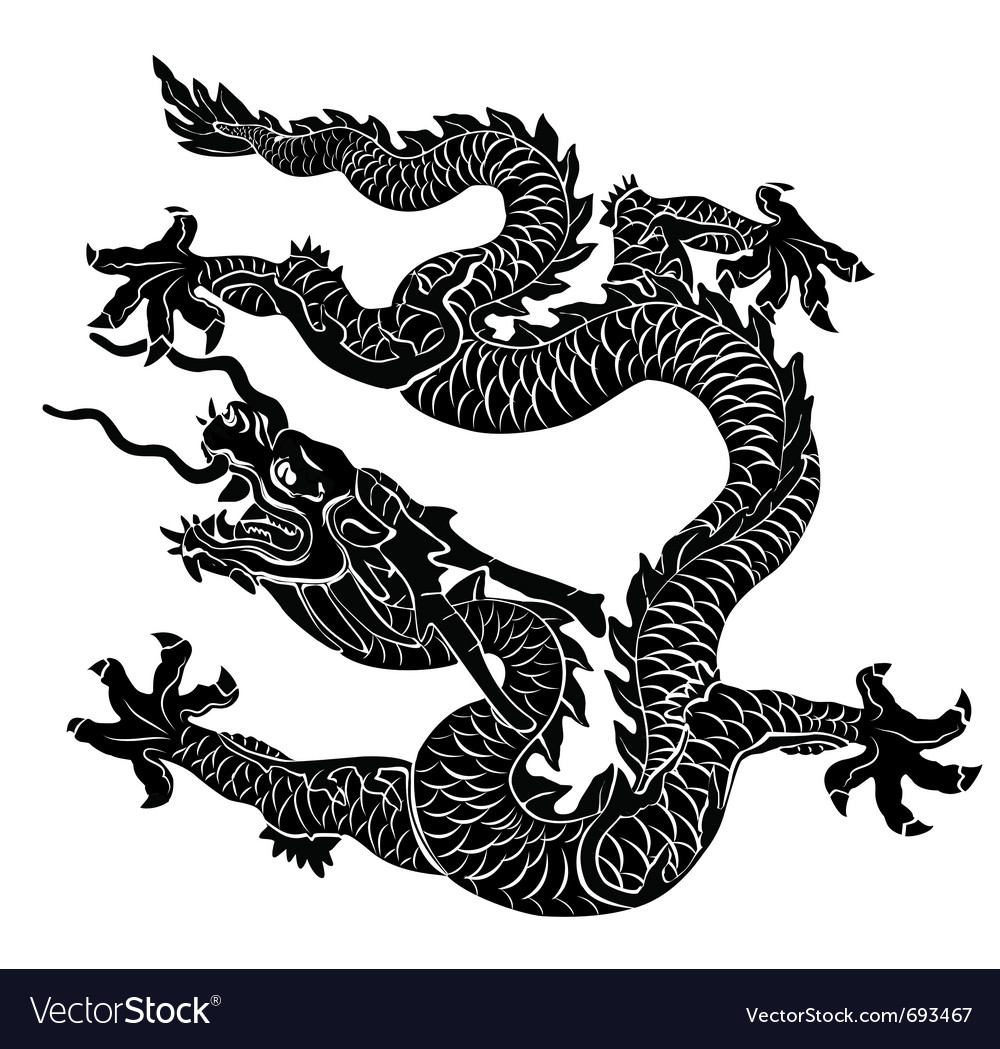 Black dragon isolated