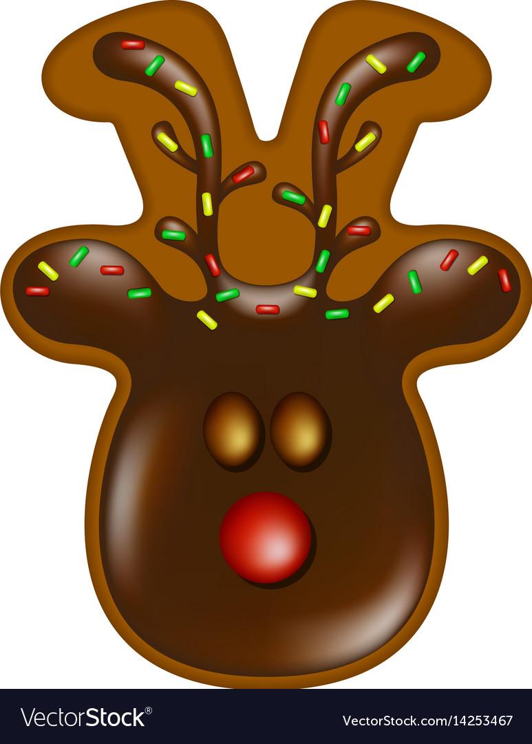 Christmas Gingerbread Reindeer With Chocolate
