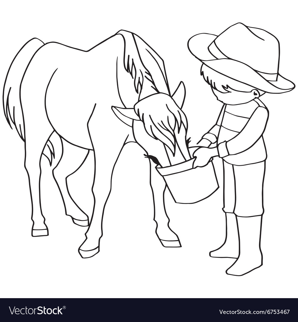 Coloring book child feeding horses