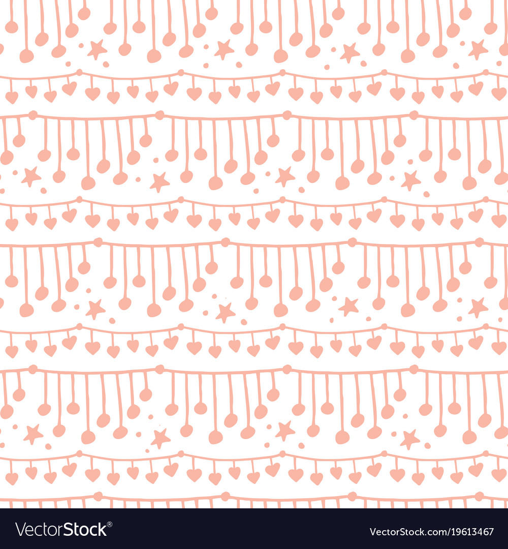 Cute doodle seamless pattern with string lights vector image