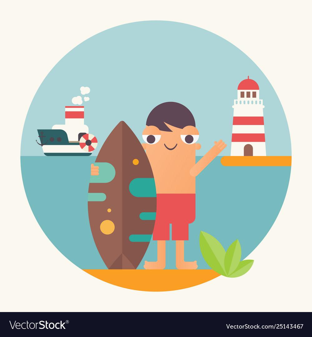 Funny cartoon surfer