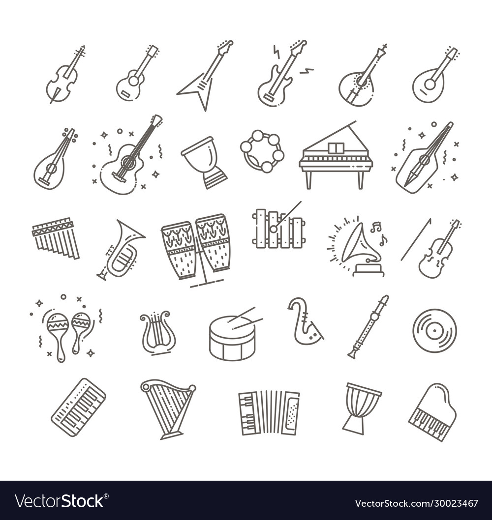 Icons music classic instruments