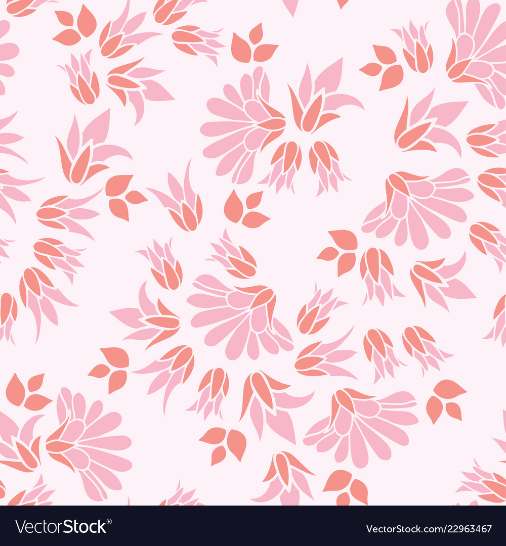 Pink Flowers Seamless Repeat Floral Pattern Vector Image