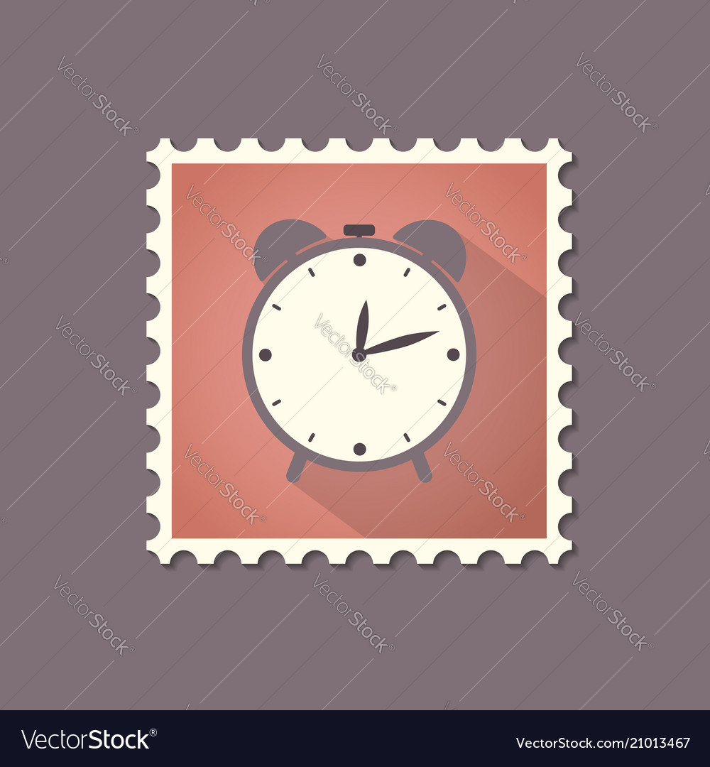 Retro style alarm clock flat stamp with shadow