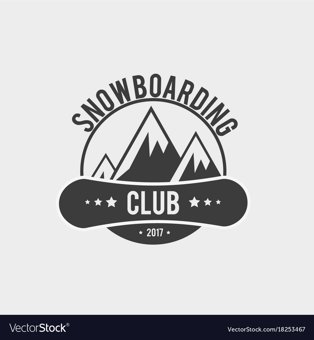 198a452a2265 Snowboard club logo label or badge template Vector Image