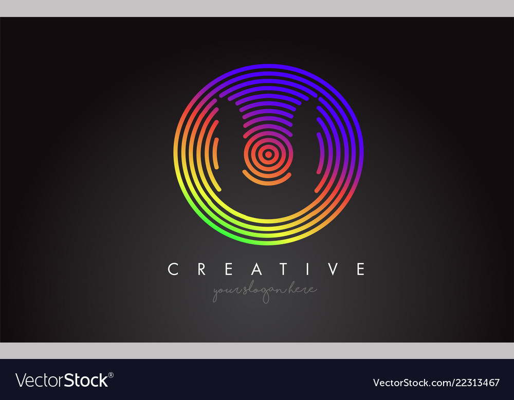 U letter logo design with colorful rainbow