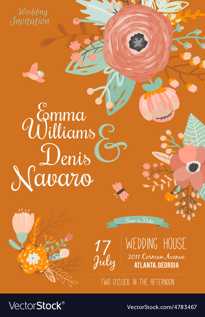 Vintage romantic floral save date invitation