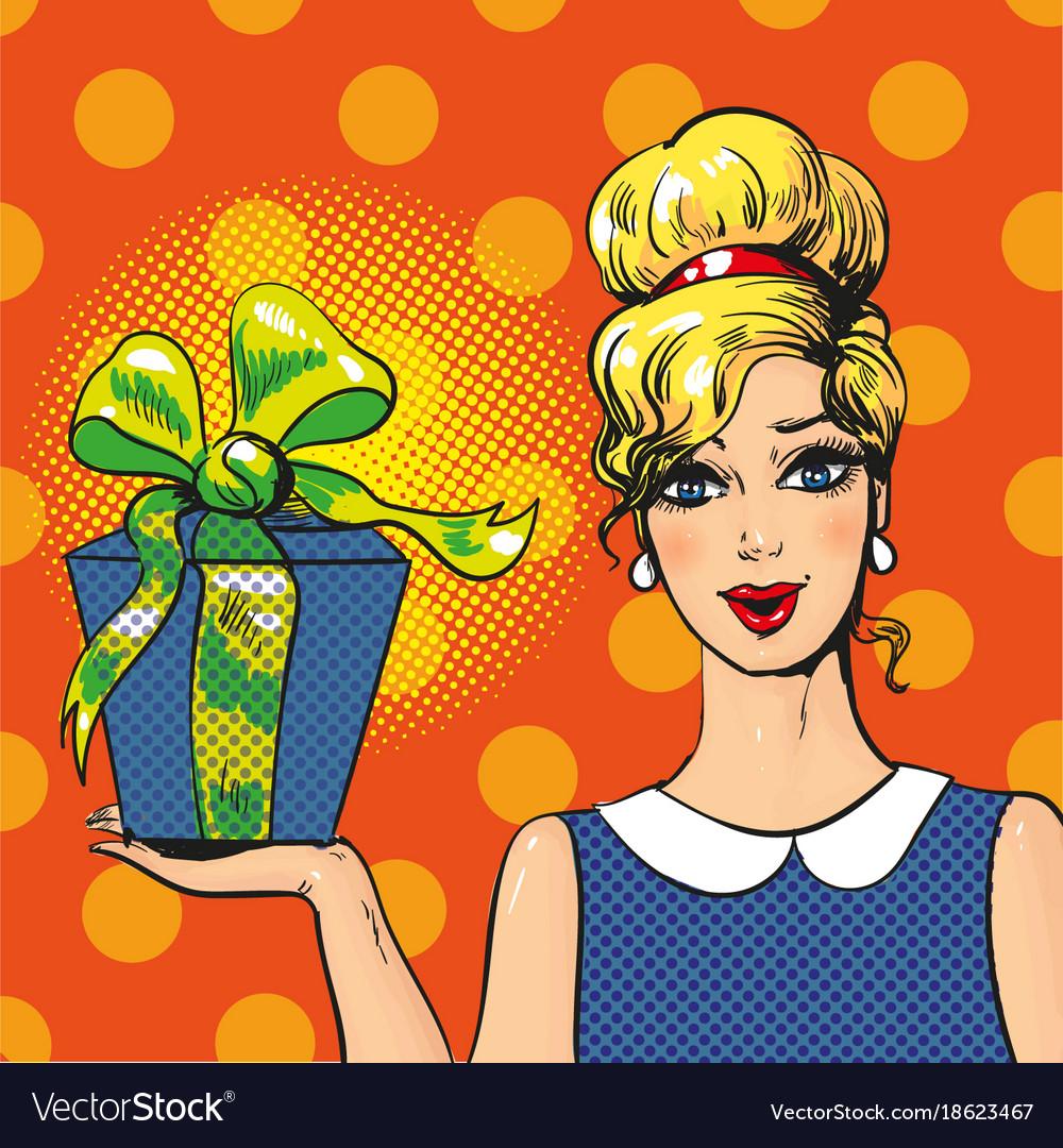 Woman holding gift box pop art