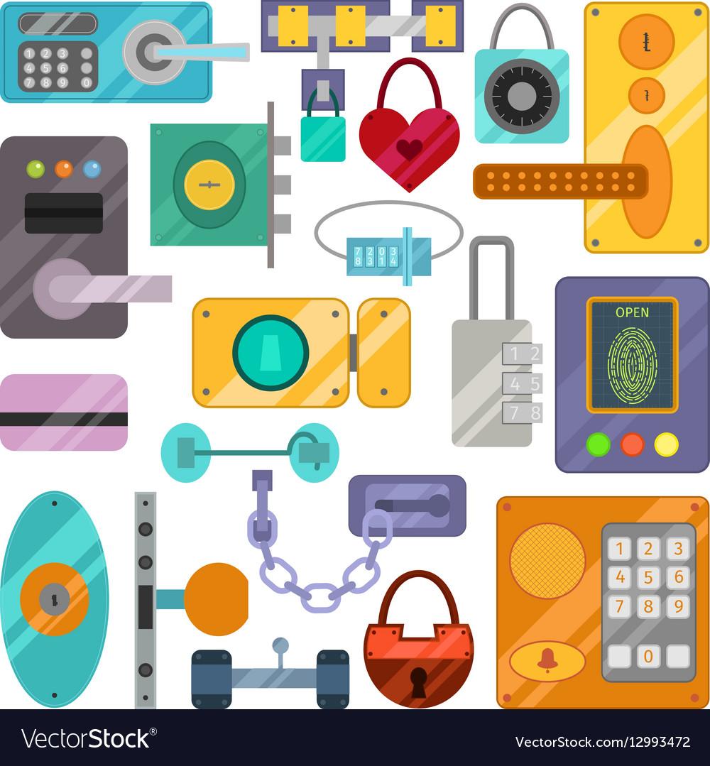 Different house door lock icons set