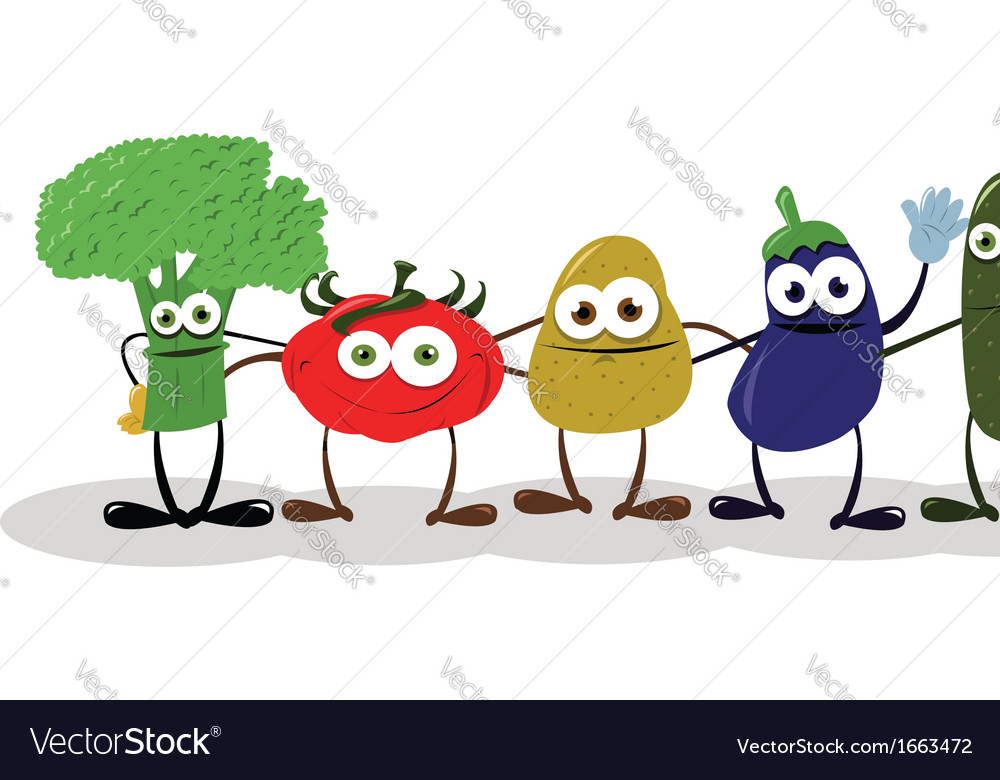 Funny Vegetables Saying Hello vector image