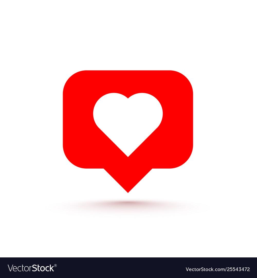 Icon heart like social network white background