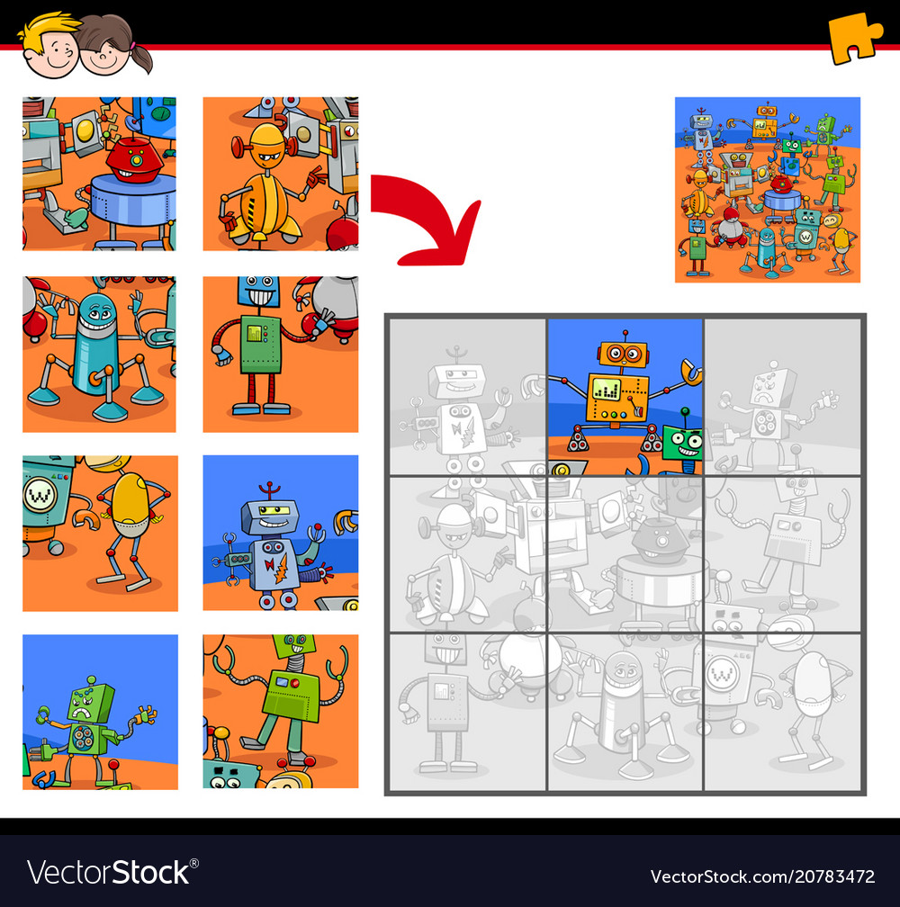 Jigsaw puzzles with robot fantasy characters