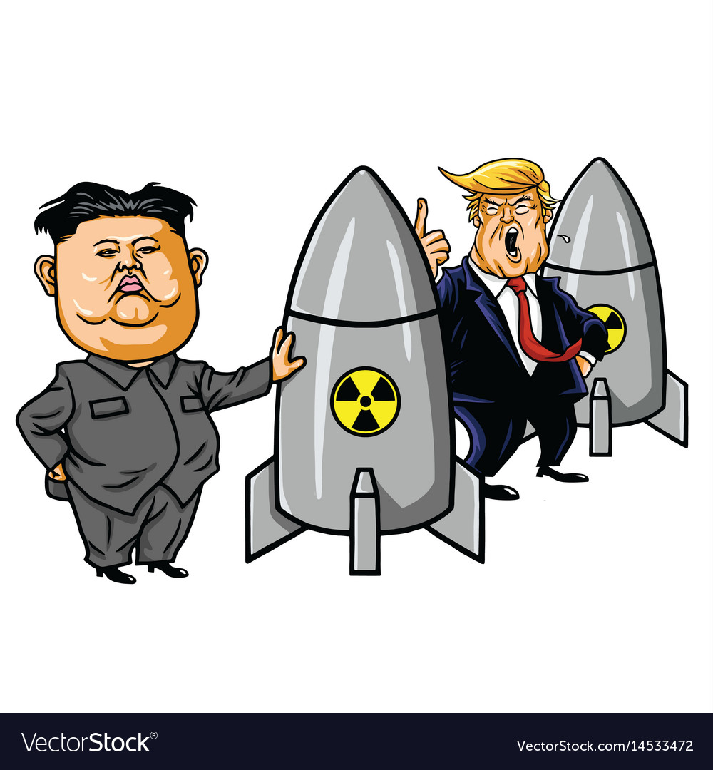 Kim jong un vs donald trump cartoon vector image