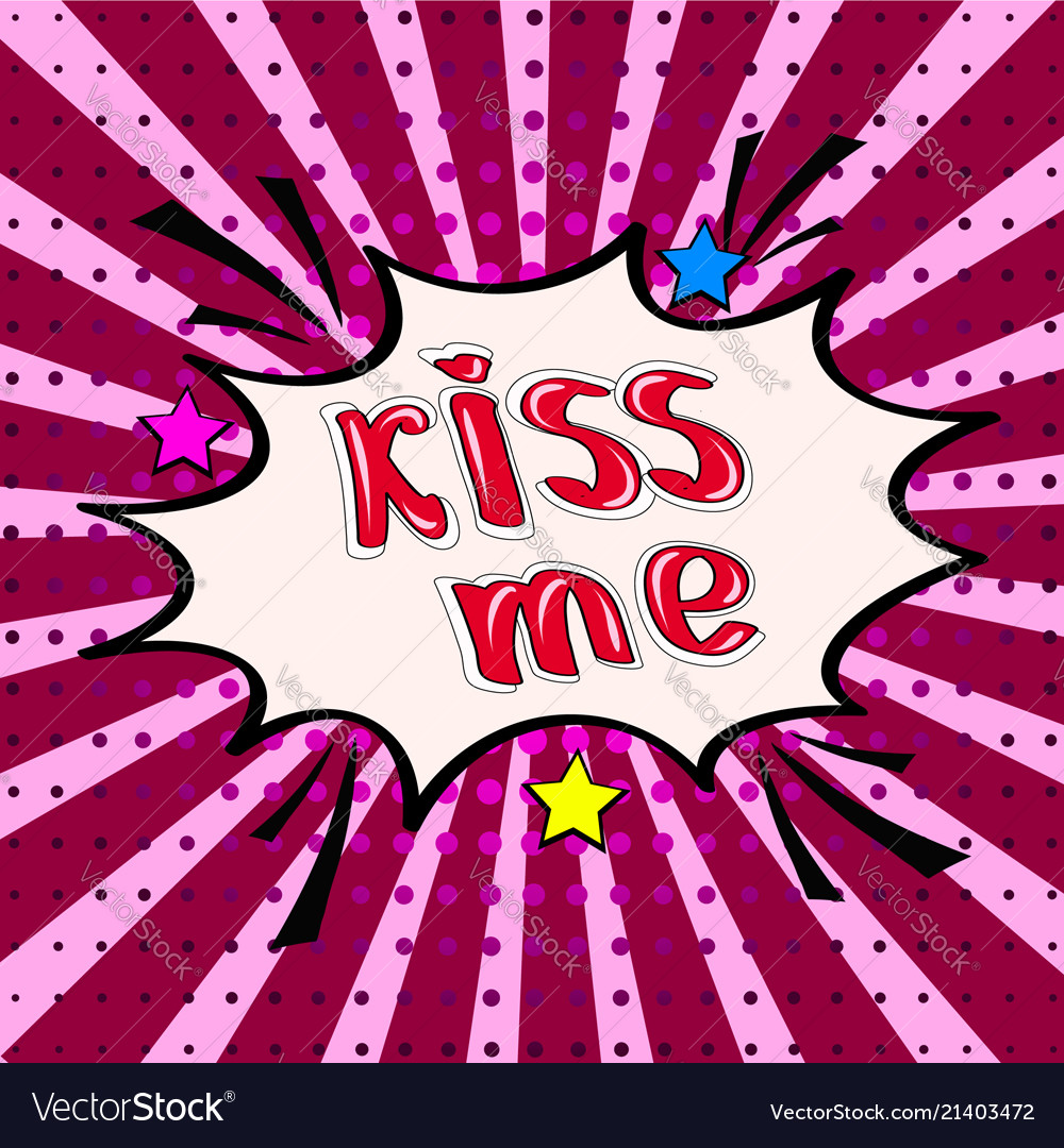 Kiss me lettering on dots background