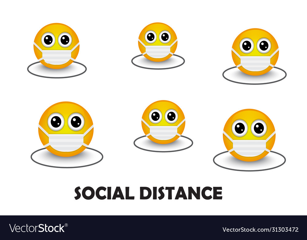 Masked yellow emoticons keep social distance due t