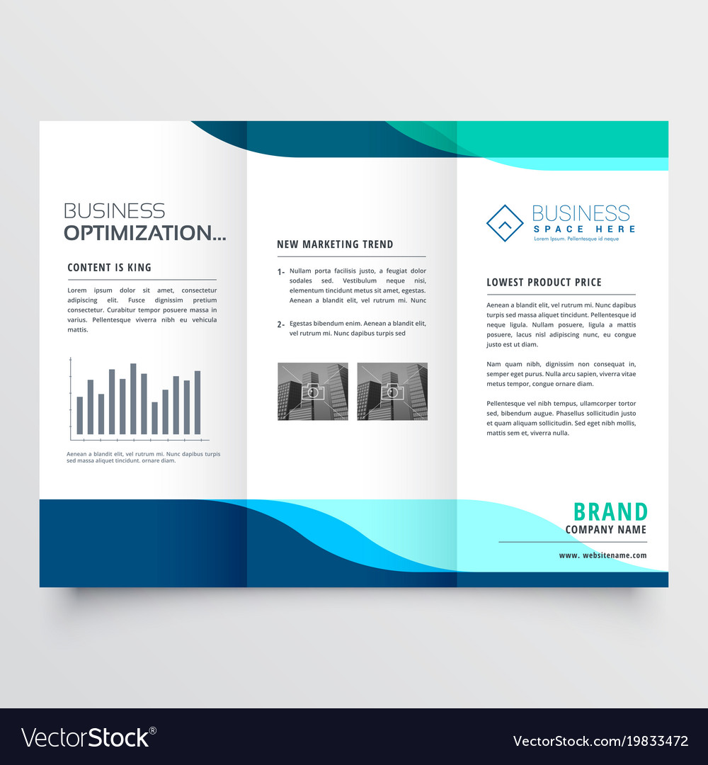 modern tri fold brochure design with blue shapes vector image